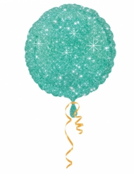 Ballon aluminium vert scintillant 43 cm