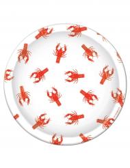 8 Assiettes en carton Homard blanc et rouge 23 cm