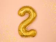 Ballon aluminium chiffre 2 doré 36 cm
