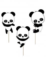3 Décorations pour gâteau Bébé Panda 20 cm