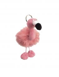 Porte clé Flamant rose peluche 13 x 10 cm