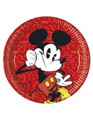 8 Assiettes  en carton Mickey™ rétro 23 cm