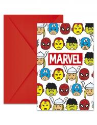 6 Cartons d'invitation + enveloppes Avengers™ 14 x 9 cm