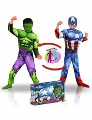 Coffret luxe déguisement réversible Captain America™ et Hulk™ garçon