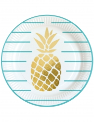 8 Assiettes en carton Ananas doré 23 cm