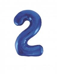 Ballon aluminium chiffre 2 bleu 88 cm