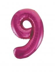 Ballon aluminium chiffre 9 fuchsia 86 cm