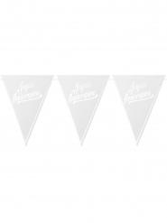 20 Fanions perforés Joyeux Anniversaire blanc et argent 18 x 20,5 cm