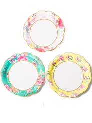 12 Petites assiettes en carton Tea Time 3 modèles 18 cm
