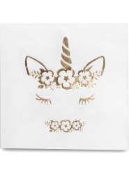 16 Serviettes en papier Jolie Licorne doré 33 x 33 cm