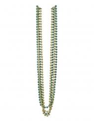 4 Colliers de perles métalliques vertes et dorées 81 cm