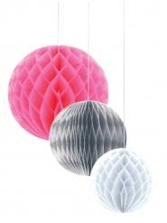 3 Suspensions alvéolées en papier rose, argent et blanc 30/25/20 cm