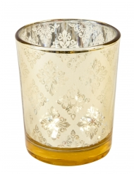 Photophore en verre mandala miroir doré 6,8 x 5,8 cm
