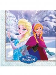 20 Serviettes en papier La Reine des Neiges câlins d'hiver™ 33 x 33 cm