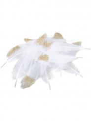 12 Plumes blanches et pailletes dorées 12 - 15 cm