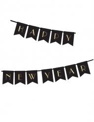 Bannière Happy New Year noire et dorée 15 x 170 cm