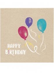 20 Serviettes en papier Happy Birthday kraft et bleues 33 x 33 cm