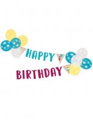 Guirlande avec ballons Happy Birthday kraft et bleu 2 m