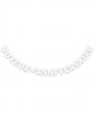 Guirlande Joyeux Anniversaire blanche 280 cm