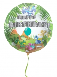 Ballon aluminium happy birthday dinosaure 45cm