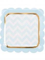 8 Assiettes carrées en carton bleues et dorure 23 cm