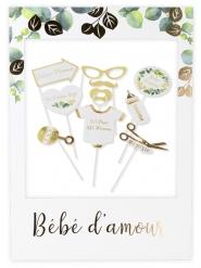 Kit photobooth avec cadre Bébé d'amour dorure or 10 accessoires