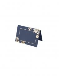 10 Marque-places fougères marine et cuivre 9 x 6 cm