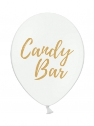 50 Ballons en latex blancs candy bar doré 30 cm