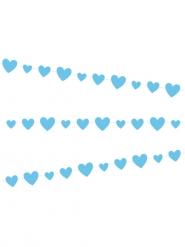 Guirlande en carton cœurs bleus 2,7 m