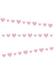 Guirlande en carton cœurs roses 2,7 m