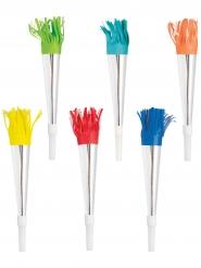6 Trompettes de fête argentées et franges colorées