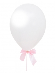 4 Ballons en latex blancs avec nœuds rubans roses 10 x 90 cm