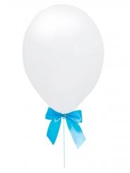 4 Ballons en latex blancs avec nœuds rubans bleus 10 x 90 cm