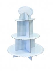 Présentoir à cupcake en carton blanc et bleu 30 x 42 cm