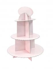 Présentoir à cupcake en carton blanc et rose 30 x 42 cm