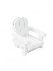 Marque place en résine chaise de plage blanche 4 x 4,5 cm