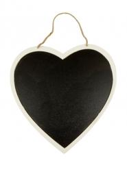 Grande suspension cœur ardoise et bois 26 cm