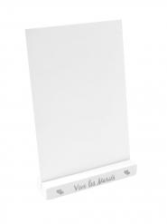 Porte menu en bois Vive les mariés argenté 18 x 12 x 3 cm