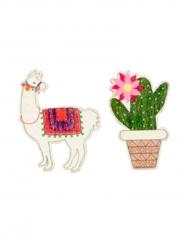 9 Confettis en bois lama cactus 3,5 x 4 cm