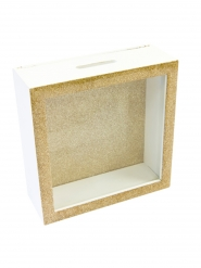 Boîte à messages en bois dorée 18 x 7 cm
