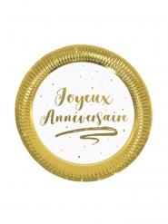 6 Petites assiettes en carton joyeux anniversaire dorées métallisées 18 cm