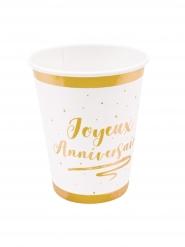 6 Gobelets en carton joyeux anniversaire dorés métallisés 270 ml