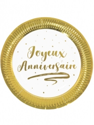 6 Assiettes en carton joyeux anniversaire dorées métallisées 23 cm