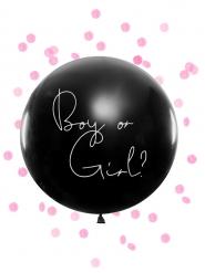 Ballon géant en latex boy or girl confettis roses 1 m
