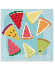20 Serviettes en papier salade de fruits 33 x 33 cm