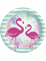 8 Assiettes en carton flamingo party 24 cm