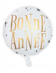 Ballon en aluminium bonne année blanc et doré 35 x 18 cm