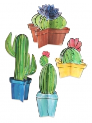 4 Centres de table en carton 3D cactus 10 - 28 cm