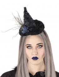 Serre-tête chapeau de sorcière rose noire adulte