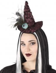Serre-tête chapeau de sorcière rose bleutée adulte